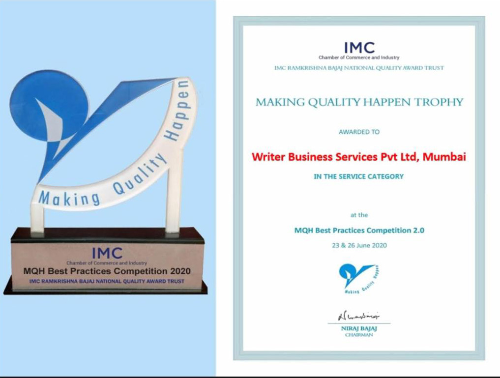 IMC RBNQA Award - Our innovative Assisted Sales Competency business model has won the IMC RBNQA Best Practices Competition 2020, which once again reiterates the continuous pursuit of excellence at Writer.